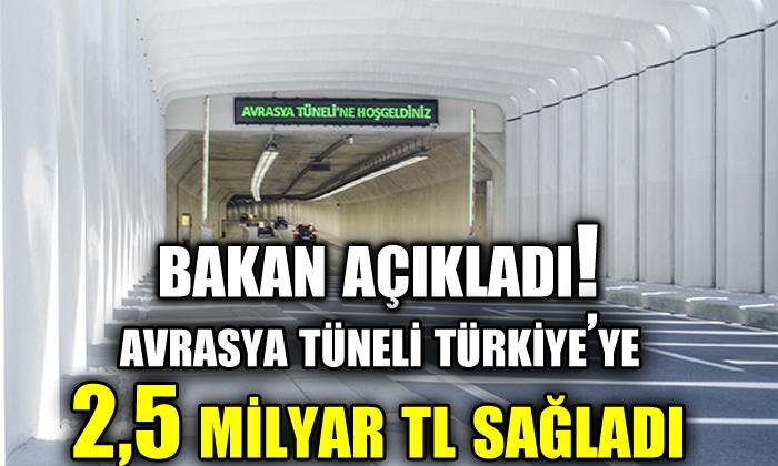 Bakan açıkladı!  'Avrasya Tüneli Türkiye'ye 2,5 milyar TL katkı sağladı'